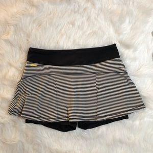 Lolë black and white striped athletic skirt